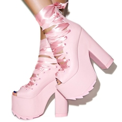 Shoespie Peep Toe Lace-Up Platform Chunky Heel Boots