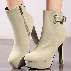 Shoespie Classy Solid Color Buckles Platform Ankle Boots