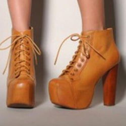 Shoespie Vintage Plain Lace Up Platform Ankle Boots
