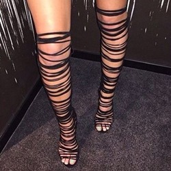 Shoespie Black Strappy Thigh High Roman Sandals