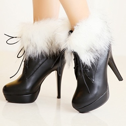 Shoespie Furry Lace Up Platform Ankle Boots