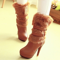 Shoespie Trendy Warm Furry Stiletto Heel High Heel Boots