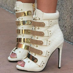 Shoespie Fashionable Metal Appliqued Peep Toe Ankle Boots