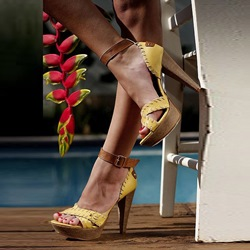 Shoespie Yellow Purfle Platform Sandals