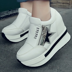 Shoespie Sporty Round Toe Hidden Wedge Heel Sneakers
