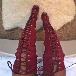 Shoespie Red Lace Up Thigh High Sandal Boots