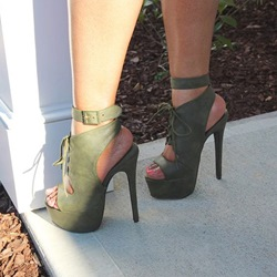 Shoespie Army Green Platform Sandals