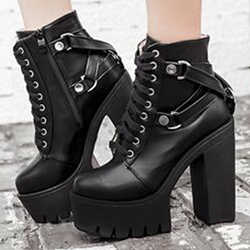 Shoespie Black Lace Up Platform Heel Ankle Boots