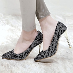 Shoespie Chic Line Print Stiletto Heels