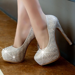 Shoespie Trendy Sequined Platform Heels
