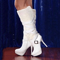 Elegant Coppy Leather Stiletto Heel Knee High Boots
