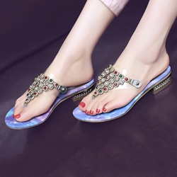 Shoespie Purple Rhinestone Slip On Mule Shoes
