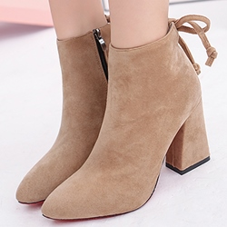 Shoespie Chic Plain Pointed Toe Chunky Heel Ankle Boots