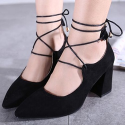 Shoespie Chic Plain Lace Up Chunky Low Heels