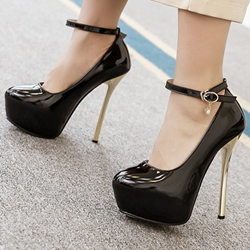 Shoespie Plain Patent Leather Ankle Wrap Platform Heels
