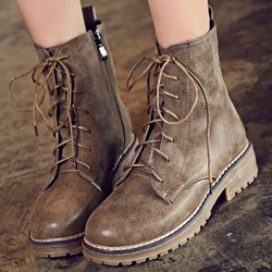 Shoespie Vintage Round Toe Lace Up Martin Boots