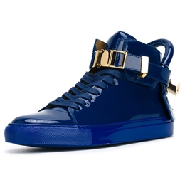 Shoespie Blue Patent Leather Men's Sneakers