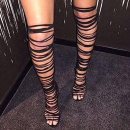 Shoespie Black Strappy Thigh High Sandals