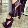 Impressive Solid Color Cut-Outs Peep-Toe Wedge Sandals