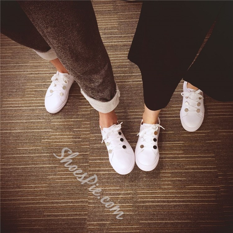 Shoespie White Button Lace Up Sneakers