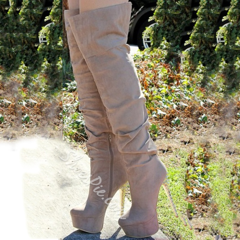 Fashionable Nubuckle Leather Meatal Rivets Heel Platform Knee High Boots