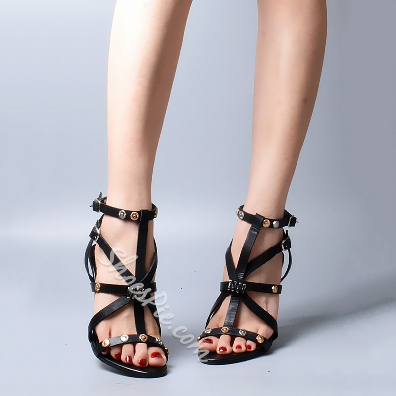Shoespie Black Rivets Gladiator Sandals
