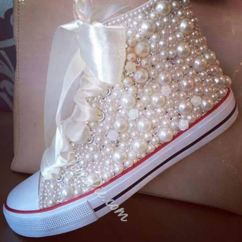 Shoespie Classy Bead Appliqued Canvas Shoes