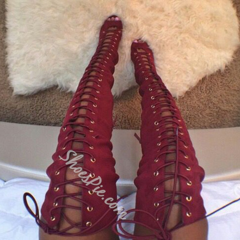 Shoespie Red Lace Up Thigh High Sandal Boots- Shoespie.com