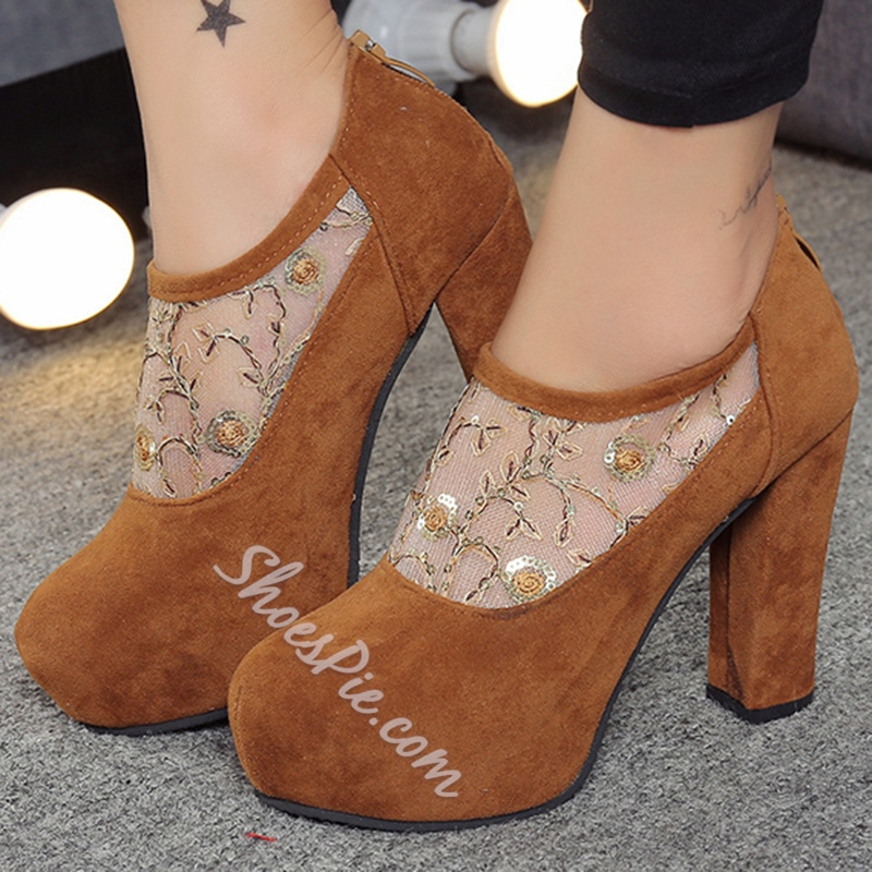 Shoespie Chic Round Toe Embroidered Lace Ankle Boots