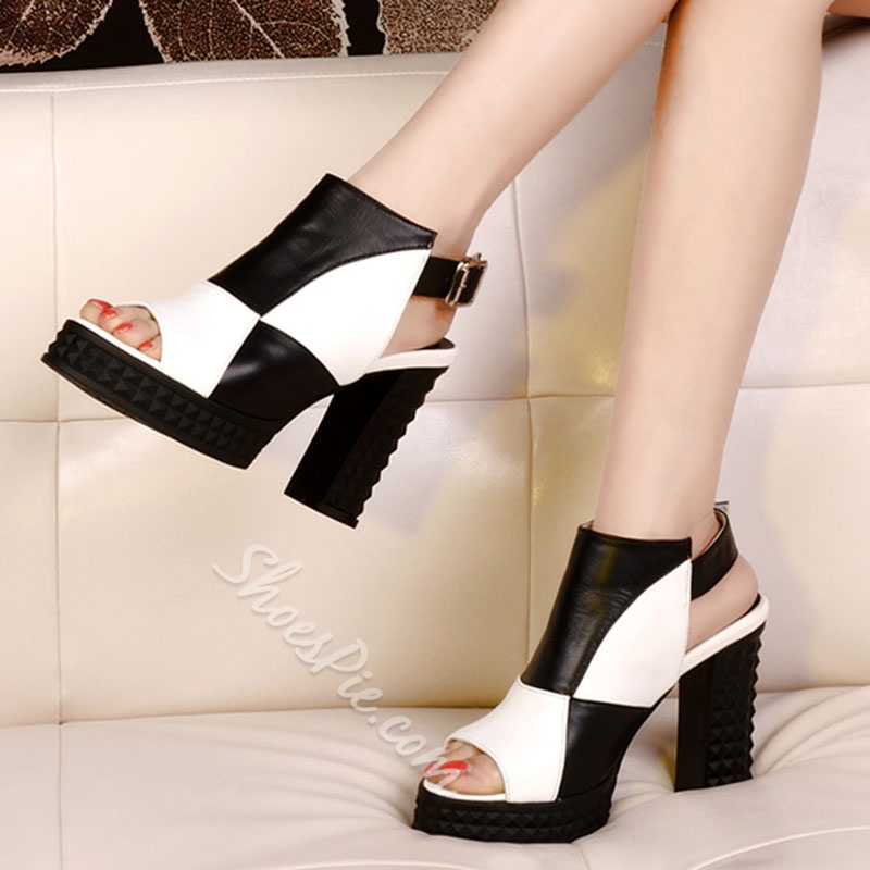 Shoespie Chic Color Block Backless Platform Heels