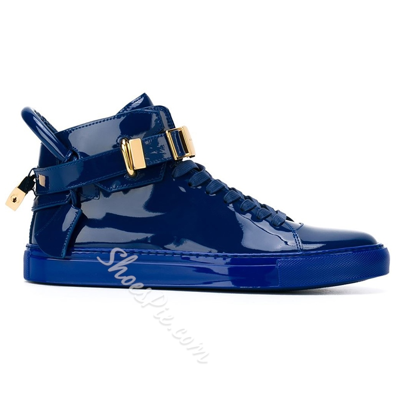 Shoespie Men's Blue PU Sneakers