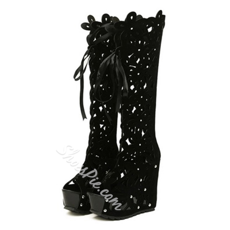 Hot Girl Cut-Outs Peep-Toe Wedge Knee High Boots