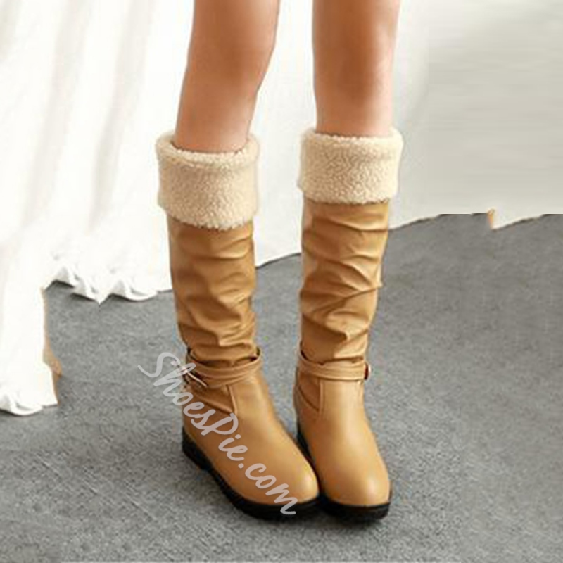 Stylish Strap Buckle Decorated Knee High Boots