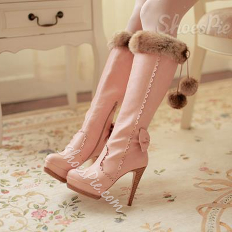 Elegant Brown PU Stiletto Heel Lovely Bowtie Knee High Boots