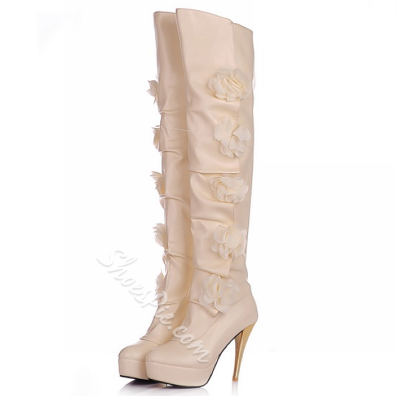 Shoespie Stylish Flower Appliqued Stiletto Heel Knee High Boots