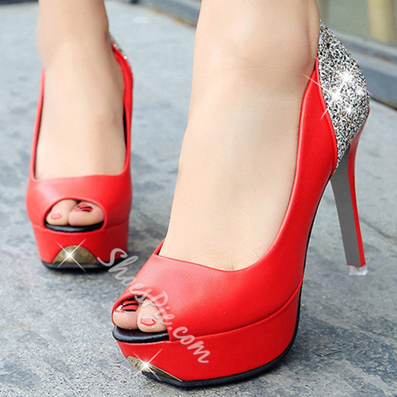 Shoespie Fashionable Contrast Color Peep Toe Platform Heels