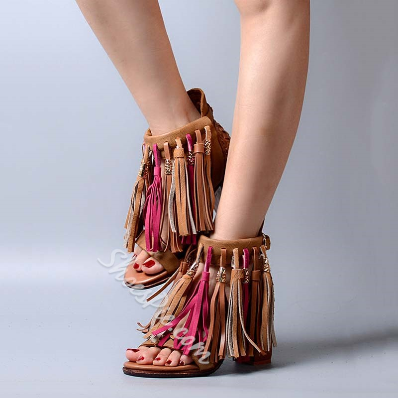 Shoespie Exotic Style Tassels Dress Sandals