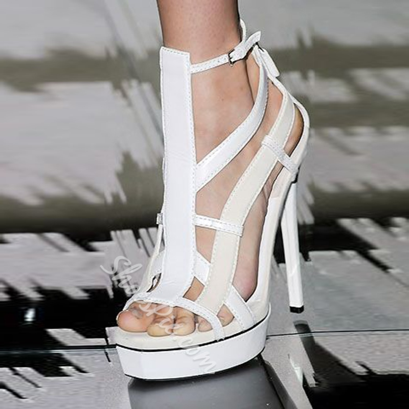 Shoespie White Strappy Platform Sandals