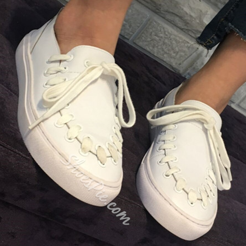 Shoespie White Creative Lace Up Sneakers