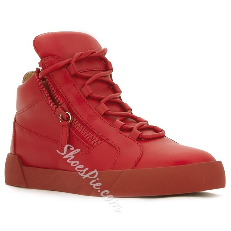 Shoespie Red Side Zipped Men's Sneakers