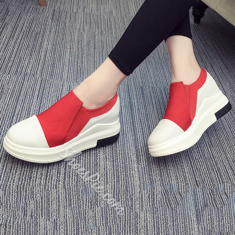 Shoespie Color Block Round Toe Sneakers