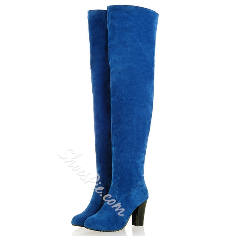 Shoespie Soft Leather Low Heel Thigh High Boots