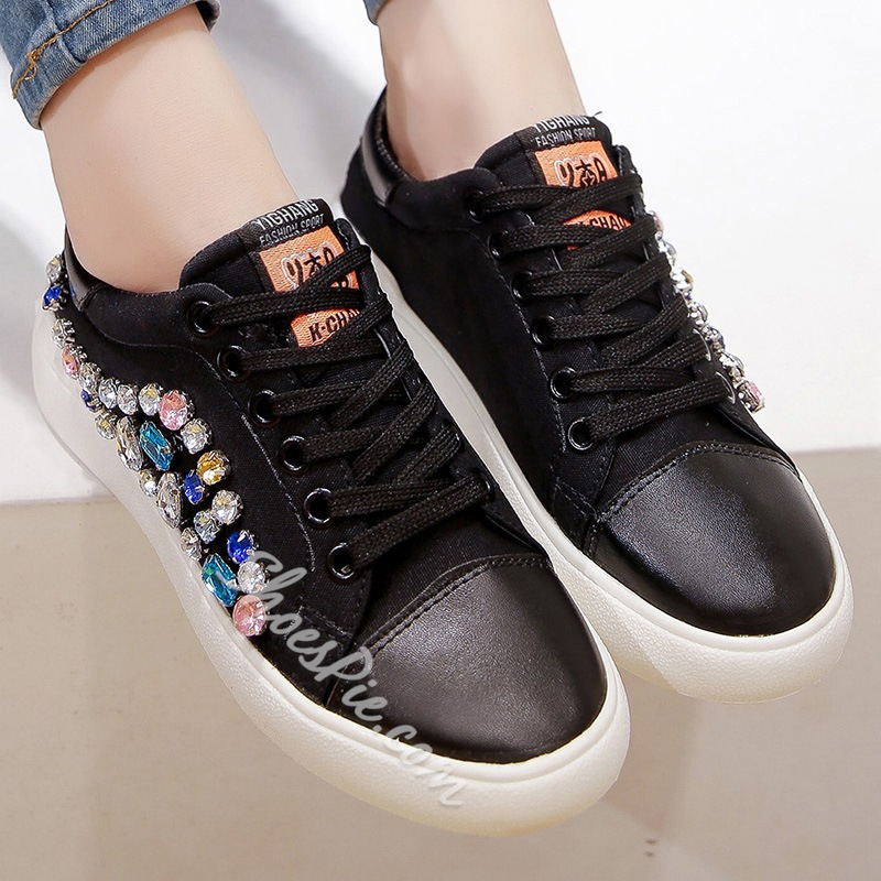Shoespie Colorful Rhinestone Appliqued Canvas Shoes