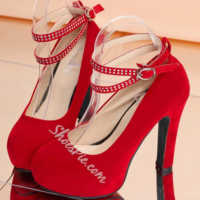 Shoespie Solid Color Cross Strap Platform Heels