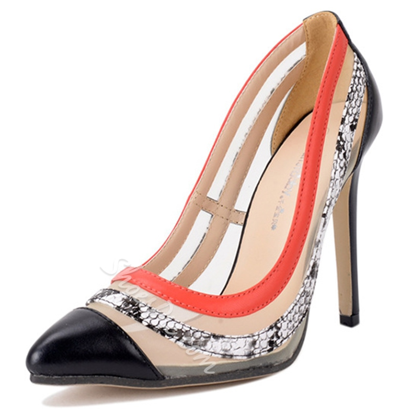 Shoespie Classy Pointed Toe Contrast Color Stiletto Heels