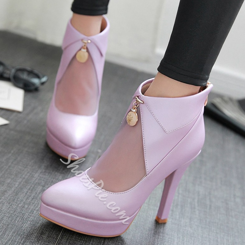 Shoespie Stylish Mesh Patchwork Stiletto Heel Ankle Boots