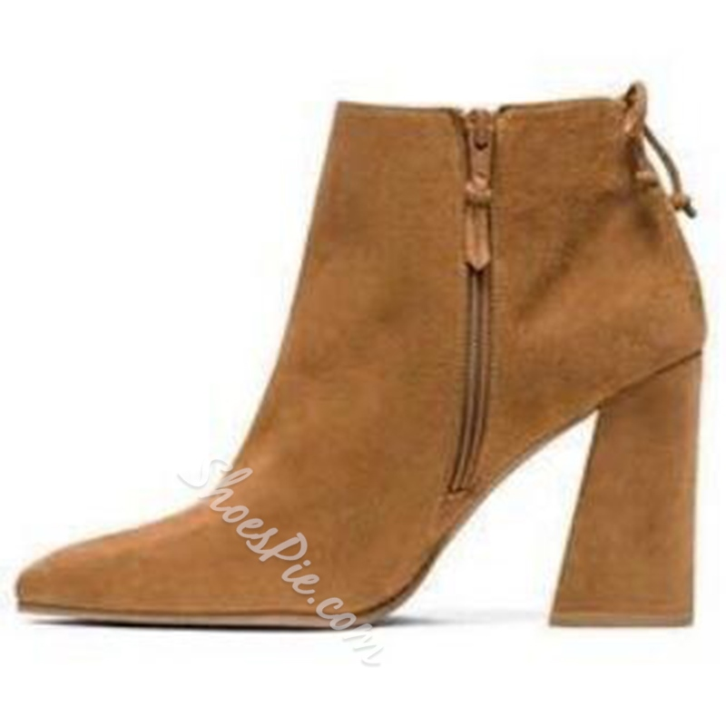 Shoespie Chic Plain Chunky Heel Ankle Boots