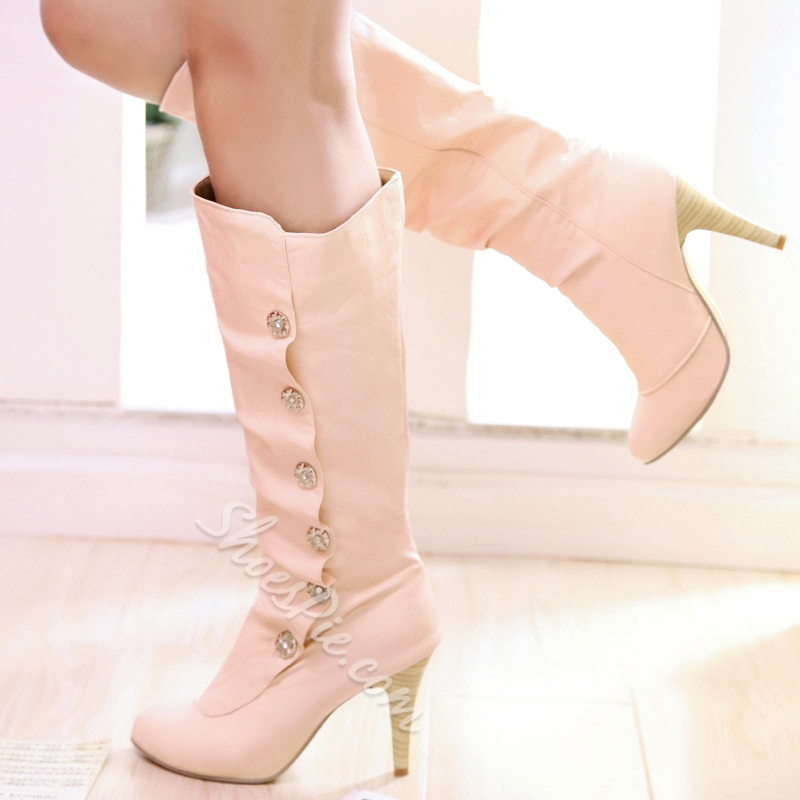 ShoespieRound Toe Button Slip-On Stiletto Knee High Boots