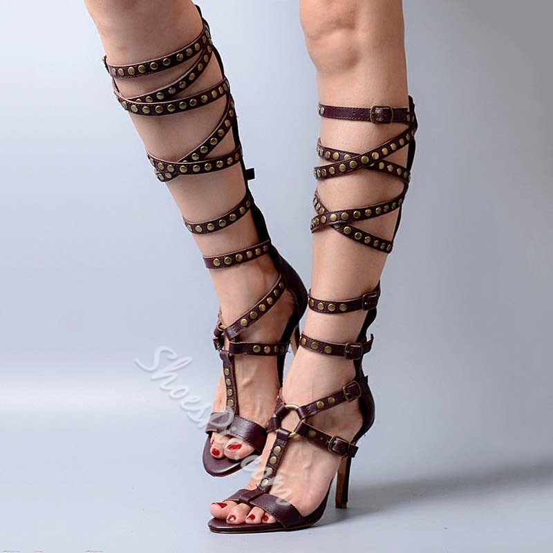 Shoespie Coffee Rivets High Quality Gladiator Sandals