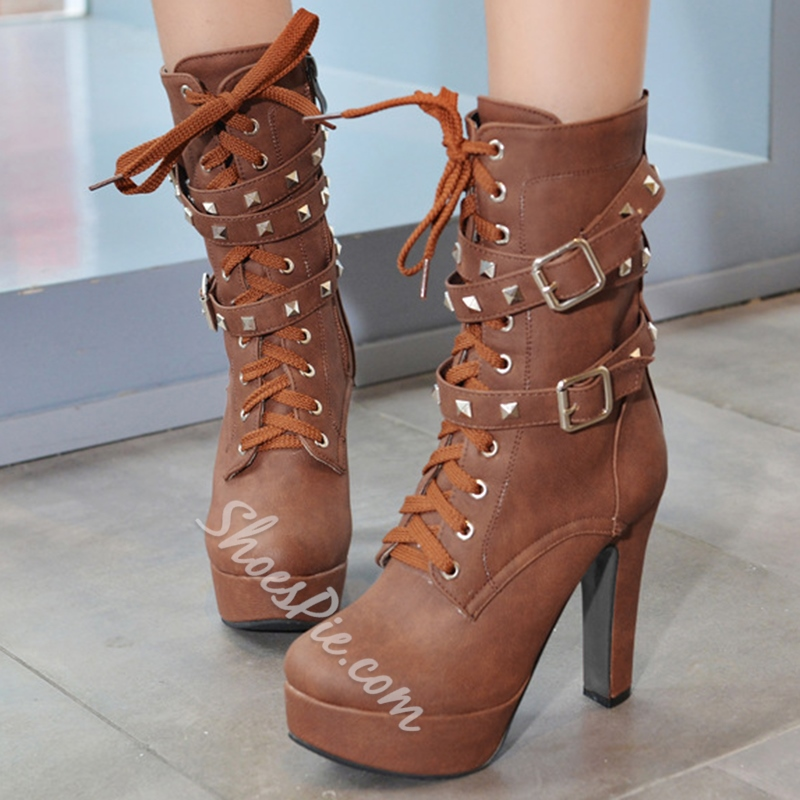 Shoespie Vintage Rivets Buckled Martin Boots